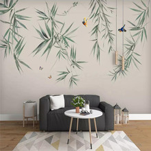 Creative wallpaper bamboo flowers and birds ink hand-painted background wall professional custom mural photo