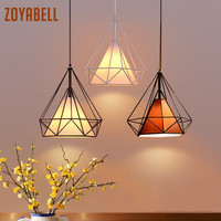 zoyabell Vintage Pendant Light Modern Diamond Iron Dinning Restaurant Industrial Decor Retro Design Lamp Pendant Hanging Light