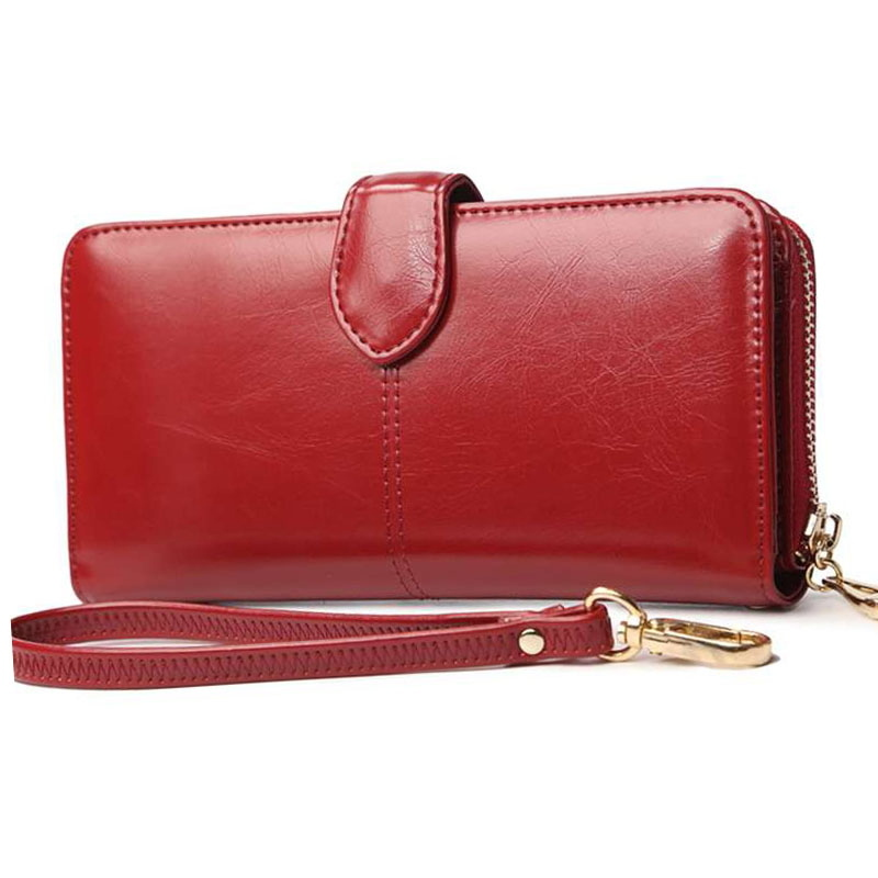 SGARR Luxury Fashion Ladies Wallet For Women Wine Red Black Brown Hasp Long Wallet Card Holder Women Oil Wax Leather Purse Bags