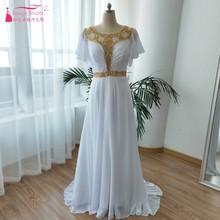 Puff Sleeve Wedding Dresses 2018 Gold Beaded Summer Wedding Gowns Bohemian Beach Abiti Da Sposa Chiffon Vestido De Noiva  ZW083