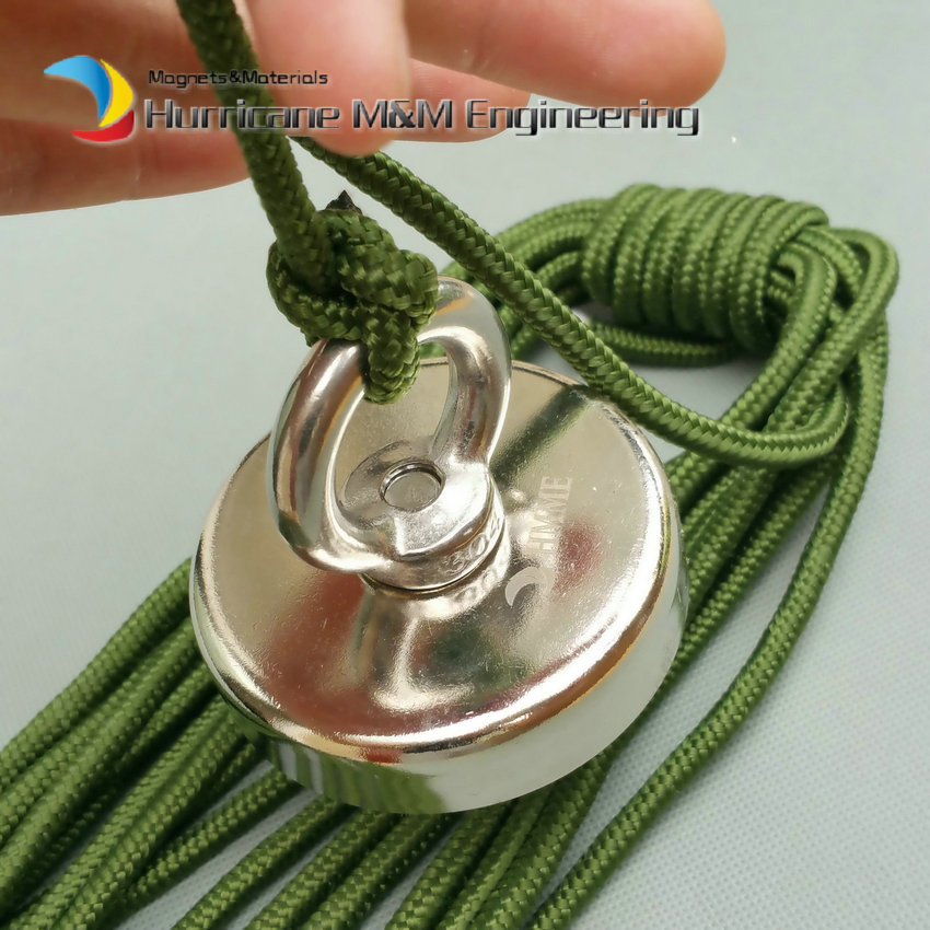 Strong Pulling Fishing Magnet Dia 48- 75mm with Nylon Rope for Magnet Fishing Strong Magnet Neodymium Permanent Magnets