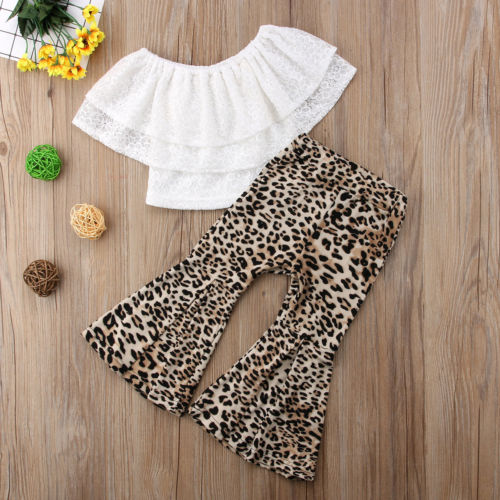 5eab19135e8dd Kids Baby Girl Clothes Lace Top Leopard Flares Pants Bell Bottoms Outfits  Set-in Clothing Sets from Mother & Kids on Aliexpress.com | Alibaba Group