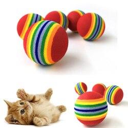 10 قطعة Rainbow 3.5 سنتيمتر القط لعبة الكرة التفاعلية القط اللعب اللعب مضغ حشرجة خدش إيفا الكرة التدريب مستلزمات الحيوانات الأليفة