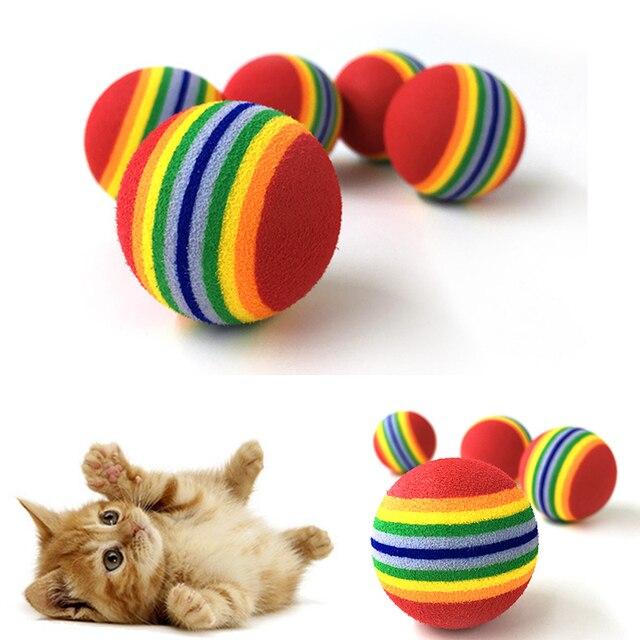 10 pz Arcobaleno 3.5 cm Gatto Giocattolo Palla Interactive Cat Toys Giocattoli d