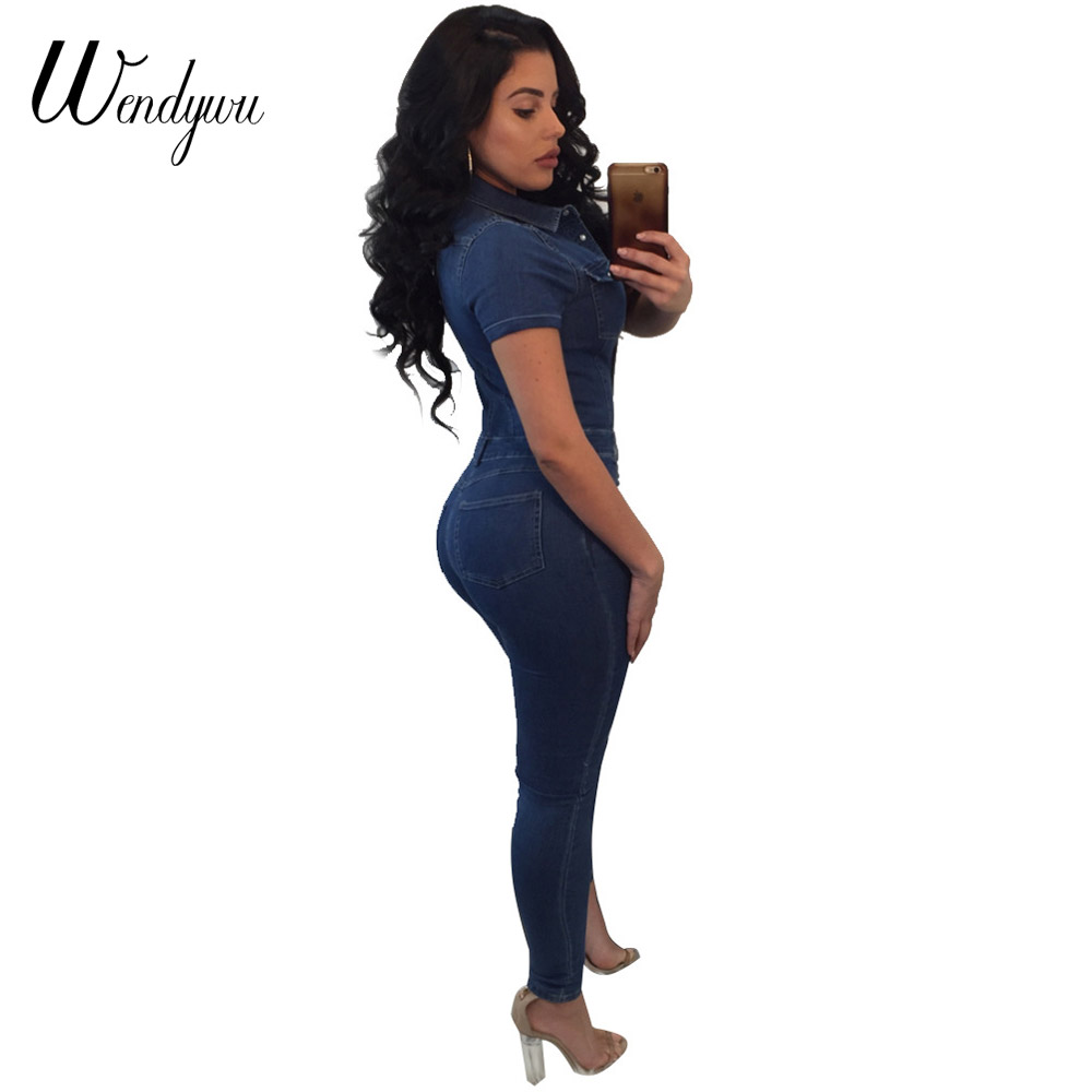 287e16886a6a7 Wendywu Plus Size Good Quality Jeans Jumpsuit For Women Short Sleeve  Fashion Bodysuit Rompers And Jumpsuits 2018 Denim Overalls. 1. 2. 20808-1  20808-2 ...