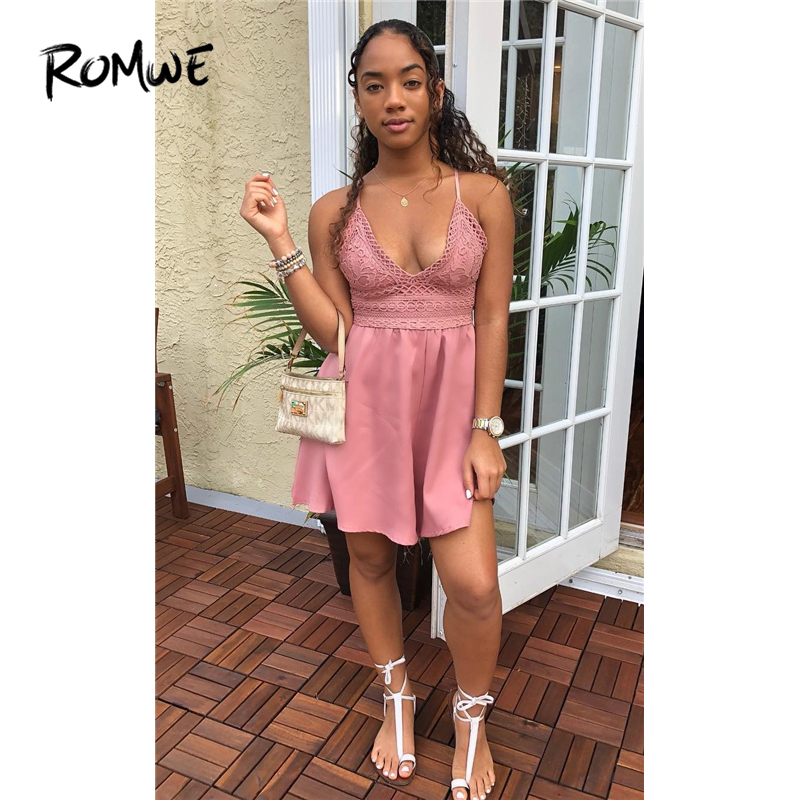 802a4863825 ROMWE Contrast Lace Knot Back Cami Romper Women Pink V Neck Straps  Sleeveless Playsuit Summer Casual Wide Leg Romper-in Rompers from Women s  Clothing on ...