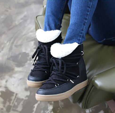 2017 Hot Fashion Snow Boots New Design Fur Inside Warm Winter Women Boots Flats Height Increasing Lace up Shoes Woman недорго, оригинальная цена