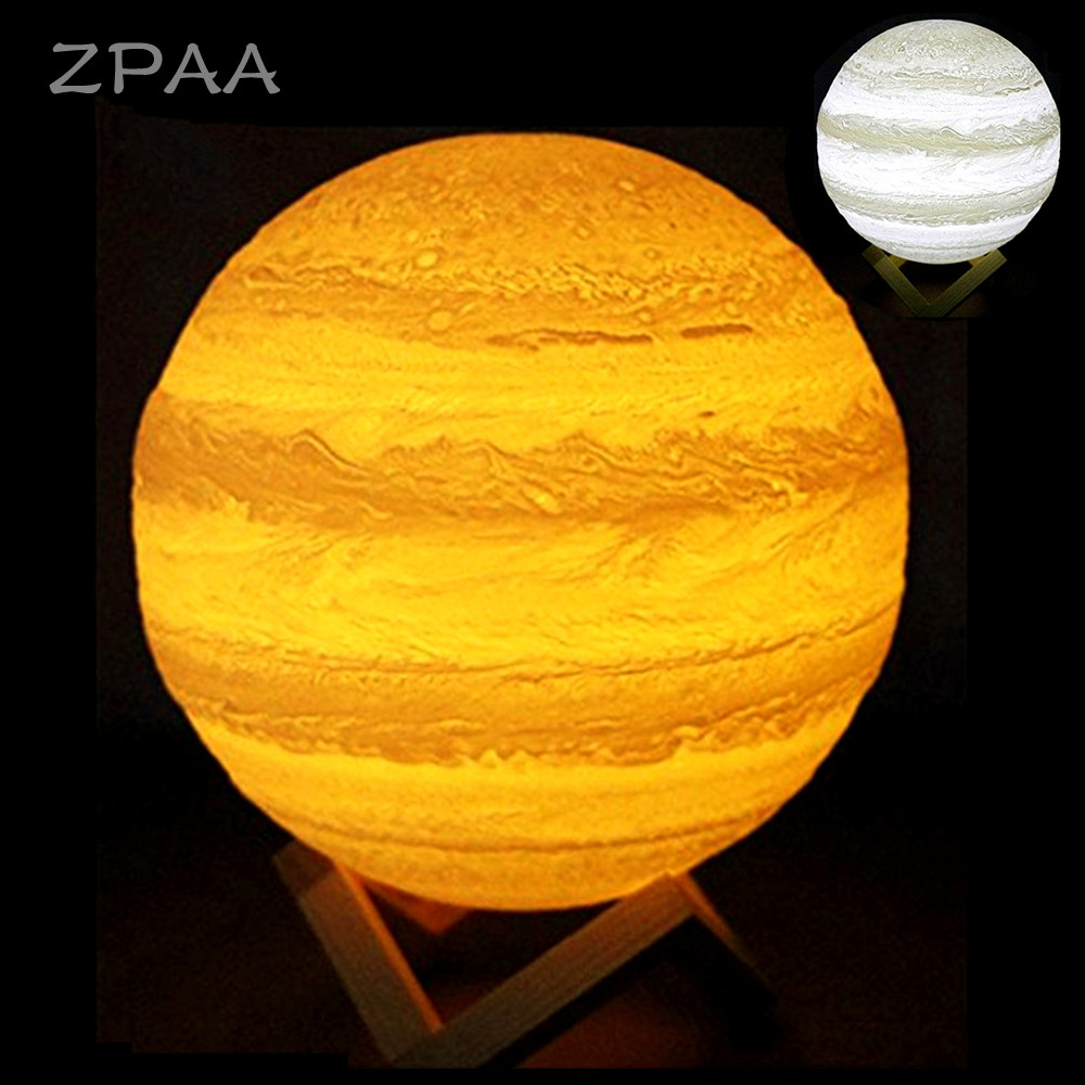 3D Nightlight Print Jupiter Lamp Moon Lamp USB Rechargeable Touch Led Night Light Home Decor Creative Gift for Children Friend jiaderui usb rechargeable battery neon lamp new year christmas wedding decor lamp flamingo cactus moon cloud led home nightlight