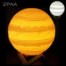3D Nightlight Print Jupiter Lamp Moon Lamp USB Rechargeable Touch Led Night Light Home Decor Creative Gift for Children Friend