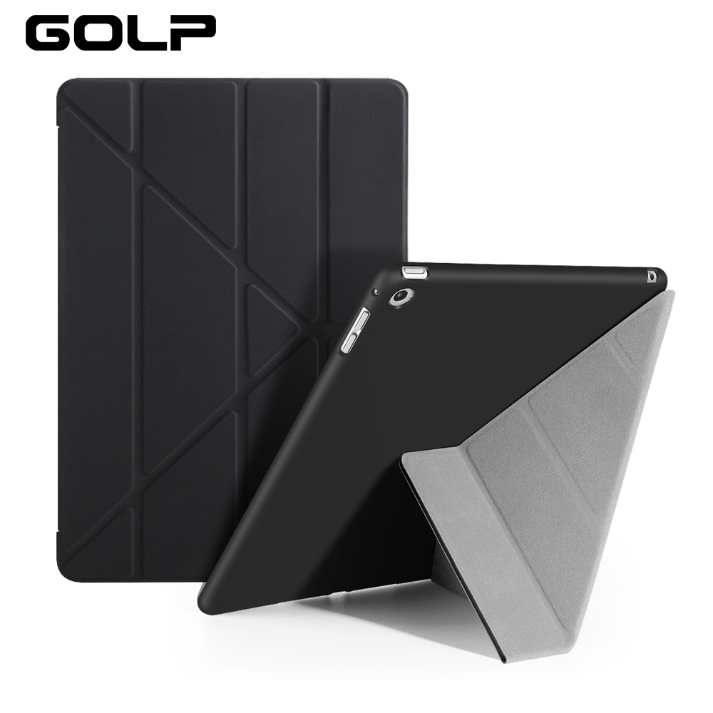 For iPad Air Case, GOLP PC Flip case for ipad 5 +TPU back cover For iPad Air 1 Tablet Case, Smart cover and holder stand fashion pc tpu back case u shaped stand for samsung galaxy s5 black yellow