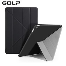 Case for iPad Air / 5, GOLP Hot sales PU Leather Multi-folding Magnetic Cover translucent TPU back stand Case for iPad Air / 5 цены