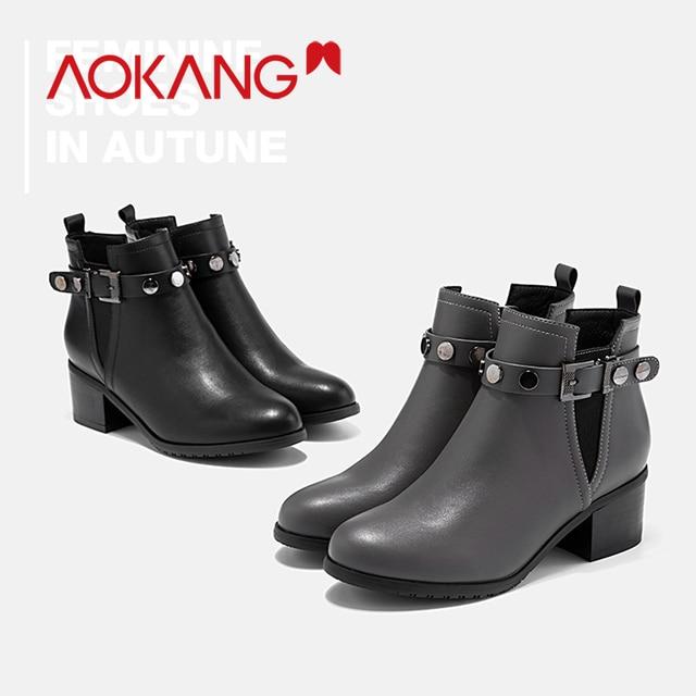 AOKANG Yeni Kadın yarım çizmeler ayakkabı siyah fermuar moda toka kayış perçin bayanlar bahar sonbahar kadın bootie ayakkabı Kadın Çizmeler