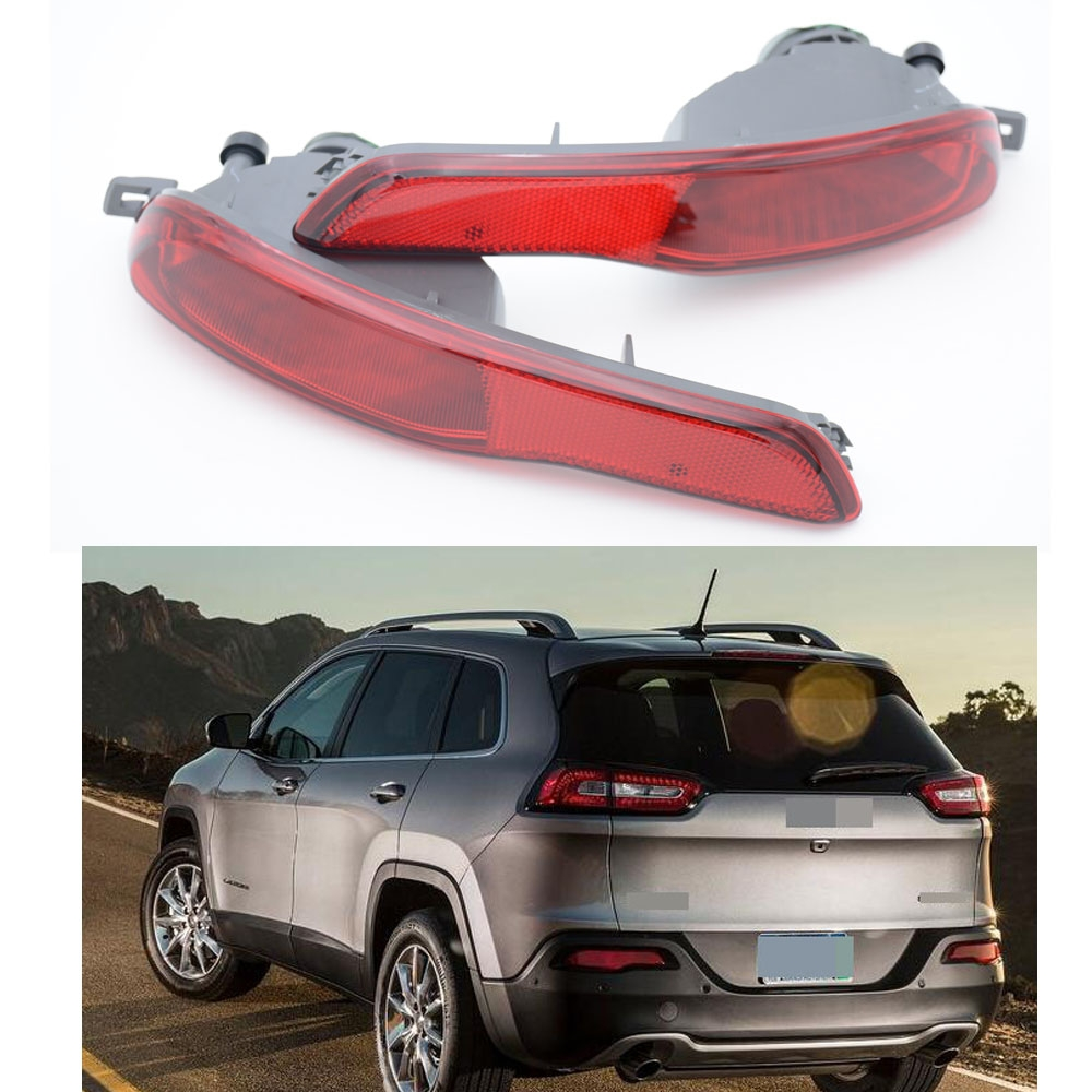 2Pcs Auto Rear Bumper Fog Light Lamp Housing Reflectors Left + Right ABS For Jeep Cherokee 2014 2pcs left