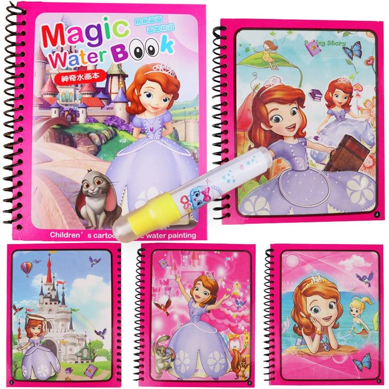 Wholesale 10pcs lot Cartoon Magic Water Drawing Book Writing Doodle Book Coloring Board Painting Mat Early