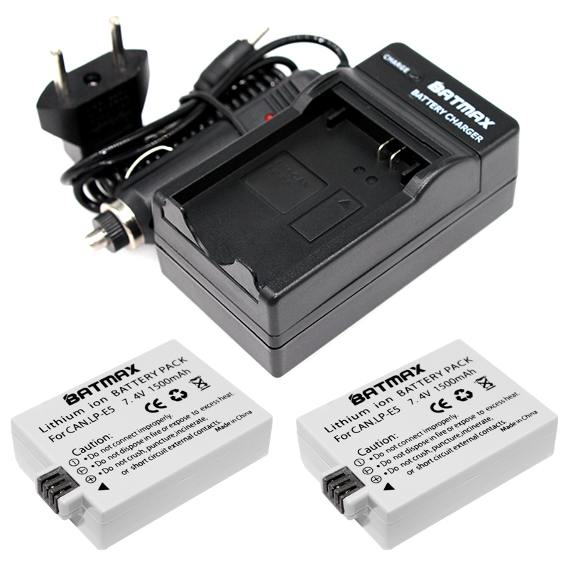 1500mAh LP-E5 LPE5 LP E5 LI-ION Battery (2 pack) & Charger Kit for Canon EOS Rebel XS, Rebel T1i, Rebel XSi, 1000D, 500D, 450D цена