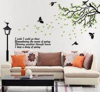 DIY Fresh Green Tree and Street Light Acrylic Stickers Beautiful Living Room Home Wall Decorations Nice Gift