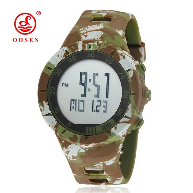 db6ab20db36 placeholder OHSEN Shock Water resistant Rubber Camouflage Watch LED Sport  Military Army Alarm Couple Digital Wristwatch Mens