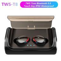 DSstyles TWS T8 Bluetooth 5.0 Sport Headset Wireless Bluetooth Earphones IPX7 Waterproof HIFI Sport Stereo Headset
