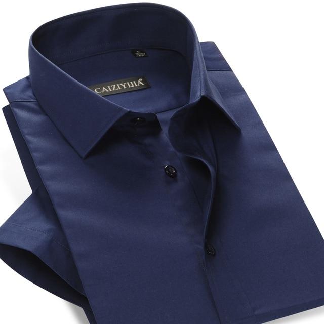 Overhemd Zwart Korte Mouw.Beroemde Merk Katoen Korte Mouw Heren Overhemd Slim Fit Mannelijke