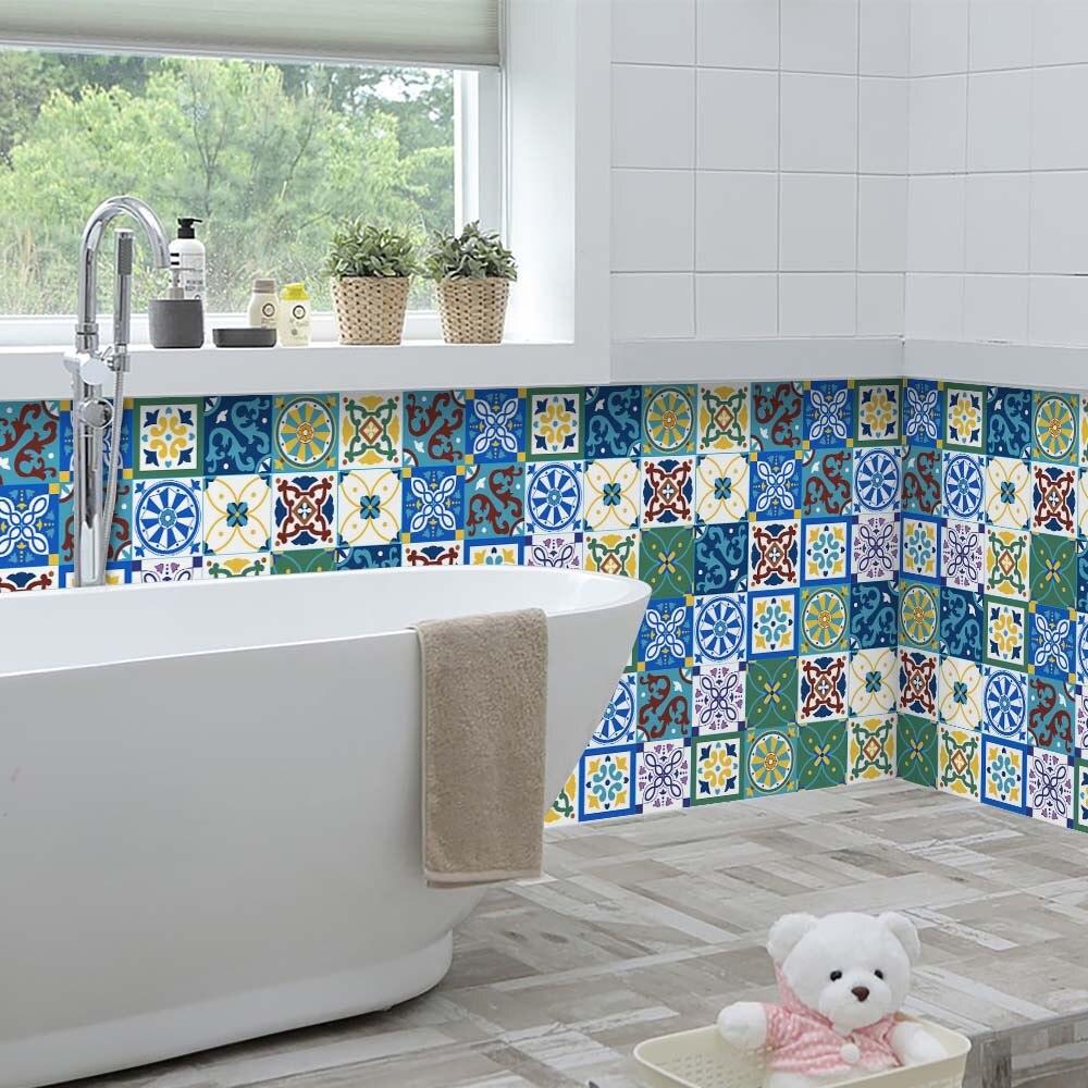 60x200cm Modern Self Adhesive Tile Floor Bohemian style Wall Decal ...