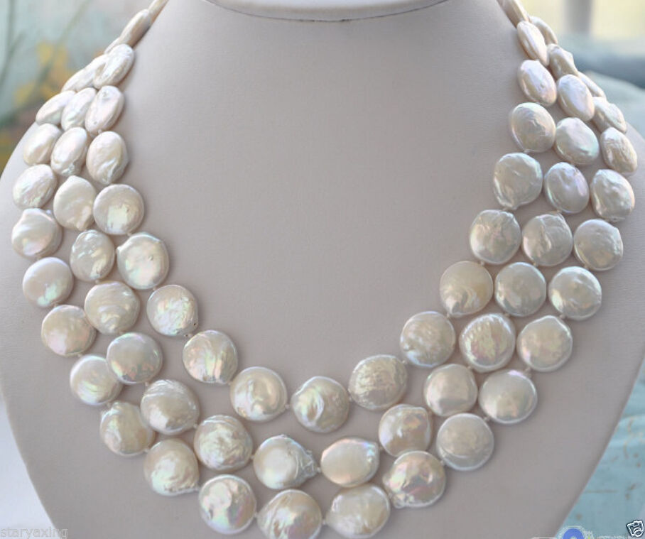 10X10 jewerly free shipping Charming 12-13mm white coin freshwater pearl necklace 48