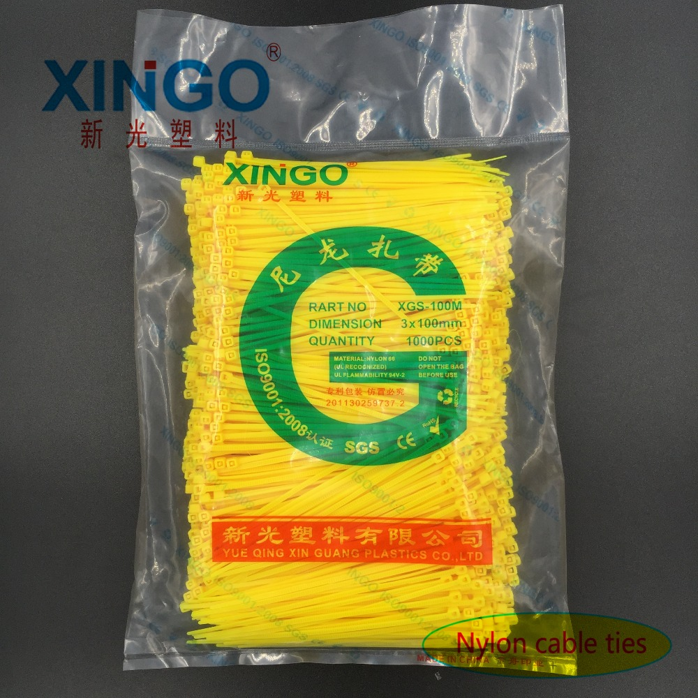 Nylon Cable Ties 1000Pcs/pack 3*100 3x100 High Quality width 1.8mm YELLOW Color Self-locking Plastic,Wire Zip Tie