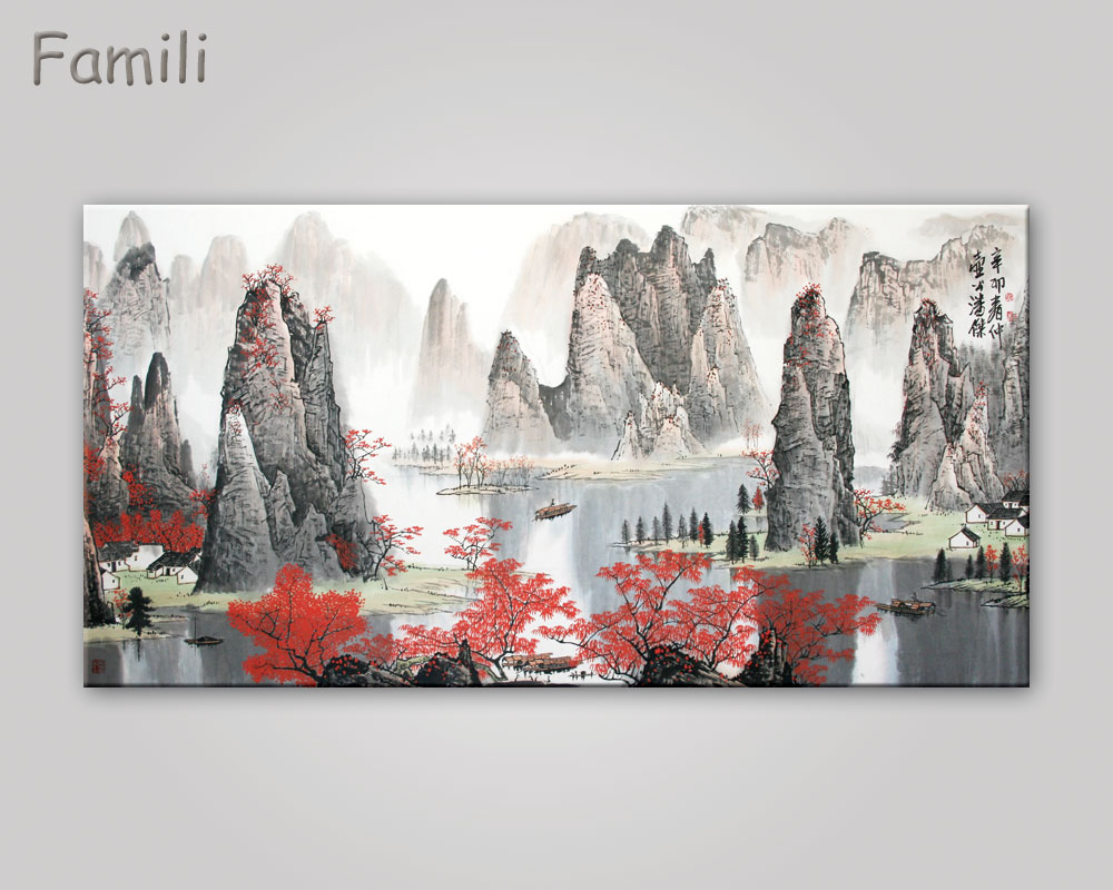 Buy Chinese Landscape canvas paintings Red maple and boat canvas ...