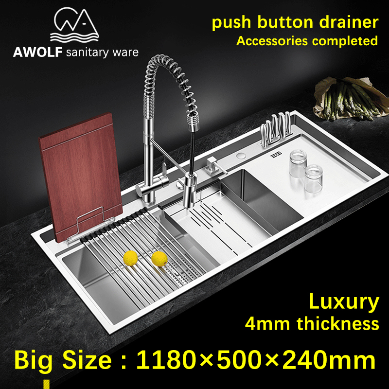 Kitchen Sinks Luxury 4mm Panel 304 Stainless Steel Large Size Single Bowl Sink Above Counter Undermount Big Durable Slot AC910