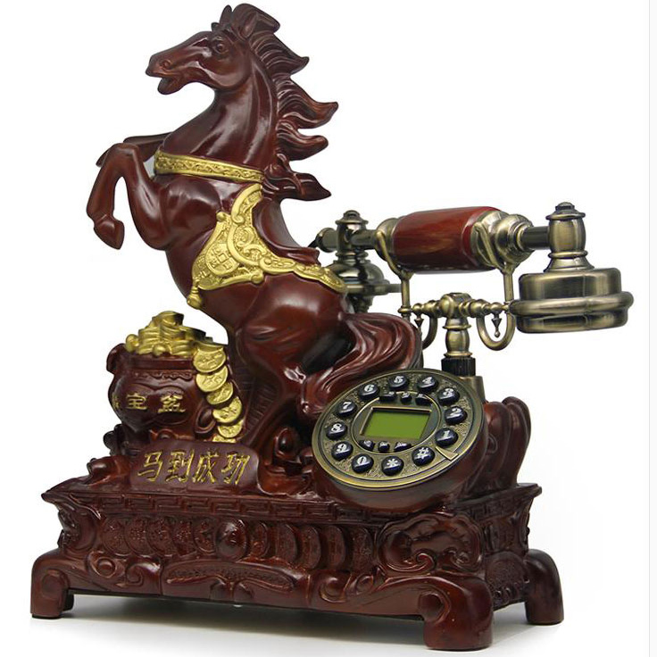 Worldwide resin fixed Phone horse Europe Antique Landline Telephone Vintage Home office telefono fijo antika Cheval Cavalo