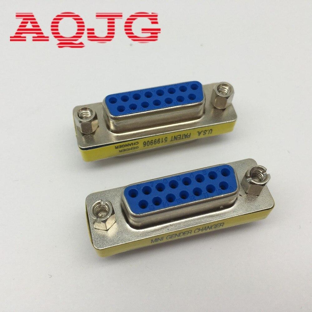 VGA Adapter DB15 Female to DB15 Pin Female F/F Jack Socket Gender Changer Serial Adapter Extension Converter AQJG win8 10 mac android ftdi ft232rl usb rs232 db9 serial adapter converter cable