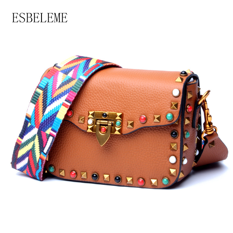 Famous Brand Genuine Leather Women Rivets Single Shoulder Bags for Female Cow Leather Crossbody Bag Brown
