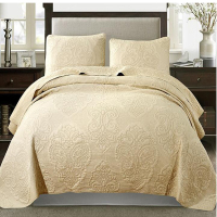 100% Cotton Bedspread Queen Size Bed Cover Pillow Cases European Style Floral Coverlet Set Bed Cover High Quality 3pcs