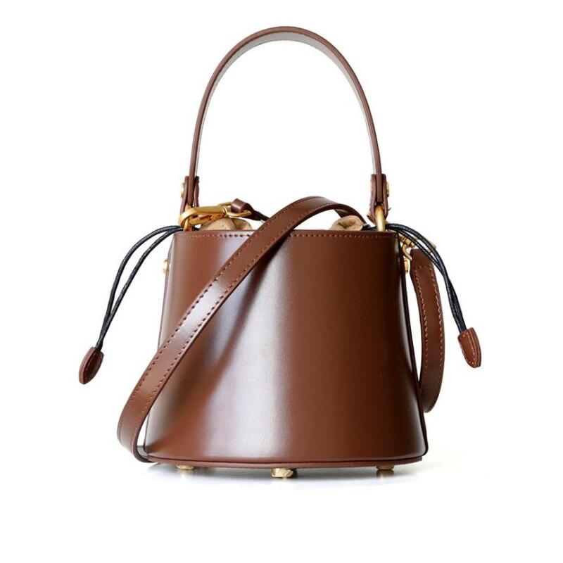 Women Handbag Genuine Leather Fashion Brand Design Bucket Tote Purse Female Shoulder Bag with Shoulder Carry