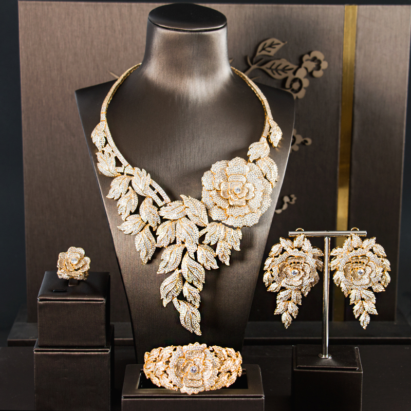 Ensembles de bijoux africains accessoires de bijoux ensembles de bijoux de mariée femmes collier collier en pierre ensembles de mariage zircone
