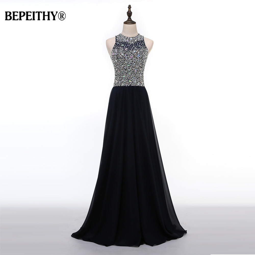 Charming A Line Black Long Evening Dress Beadings Crystal Bodice Party Elegant Vestido De Festa New