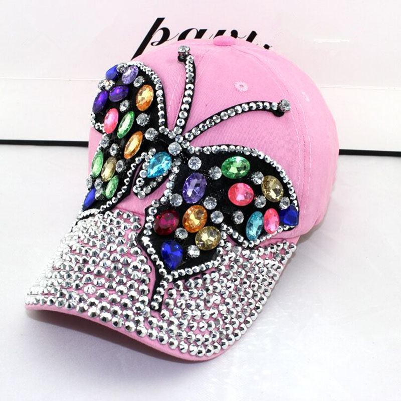 2017 fall Baseball Cap Women Full Crystal Colorful Big Butterfly Hat Denim Bling Rhinestone Snapback Caps Casquette Summer hats(China)