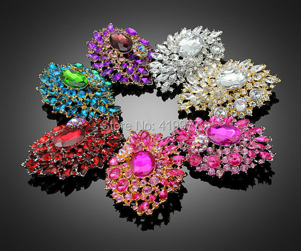 3 Color Design nova chegada do Vintage clássico Artificial roxo / branco / vermelho cor cristal Rhinestone de vidro prateado broche pinos