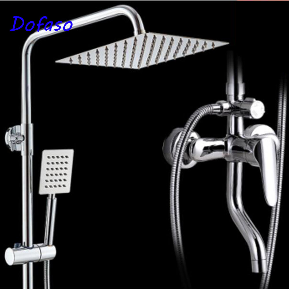Dofaso stainless shower faucet With Hand Sprayer wall-mounted shower sets Mixer Tap 8 Shower Head Square wholesale and retail wall mounted thermostatic valve mixer tap shower faucet 8 sprayer hand shower
