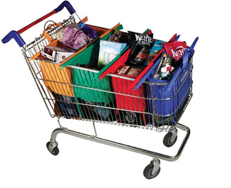 4 pcs/ensemble Panier Chariot Sacs Pliable Réutilisable D'épicerie Supermarché Shopping Sac Eco Sac Facile à Utiliser Sac À Main Totes Bolsas