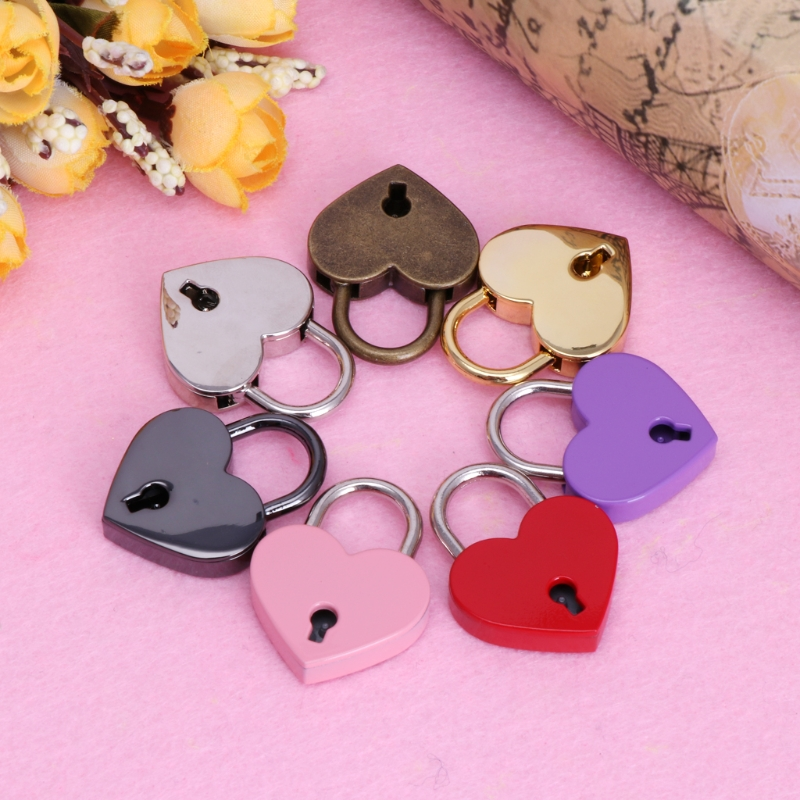 Baby Safe Heart Shape Vintage Lock Old Antique Style Mini Archaize Padlocks Key Lock With Key