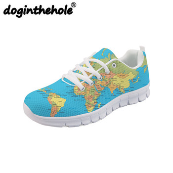 doginthehole Men Running Shoes World Map Pattern Brand Designer Outdoor Athlete Training Sport Shoes Mesh Flats Sneakers Women