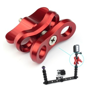 Image 2 - CNC Schmetterling Clip Clamp 2 3 Offene Loch Tauchen Licht Halterung Stativ Anschluss Ball Kopf Mount Adapter für Gopro Sport SLR Kamera