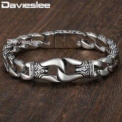 Для мужчин s браслет 316L Нержавеющаясталь серебро Цвет изогнутые обуздать звено цепи Браслеты для Для мужчин Davieslee оптовые ювелирные издели...