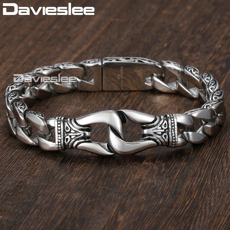 Herren Armband 316L Edelstahl Silber Farbe Gebogene Curb Link Kette Armbänder für Männer Davieslee Großhandel Schmuck 15mm HB10