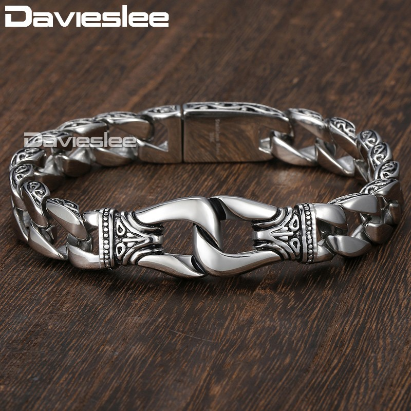 Mens Bracelet 316L Stainless Steel Silver Color Curved Curb Link Chain Bracelets for Men Davieslee Wholesale Jewelry 15mm HB10 trustylan shiny glossy 316l stainless steel mens bracelets 2018 20mm wide chain bracelets jewellery accessory man bracelet