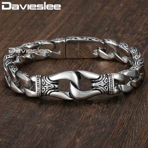 Mens Bracelet 316L Stainless Steel Silver Color Curved Curb Link Chain Bracelets