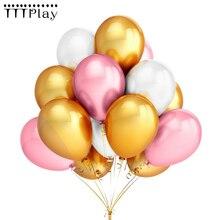 골드 핑크 화이트 풍선 10 개/몫 12 Inch 풍선 라텍스 헬륨 풍선 웨딩 생일 파티 장식 공기 풍선