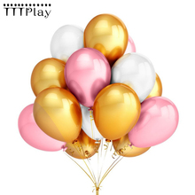 Gold Pink White Balloons 10pcs/lot 12 Inch  Inflatable Latex Helium Balloons Wedding Happy Birthday Party Decoration Air Balloon