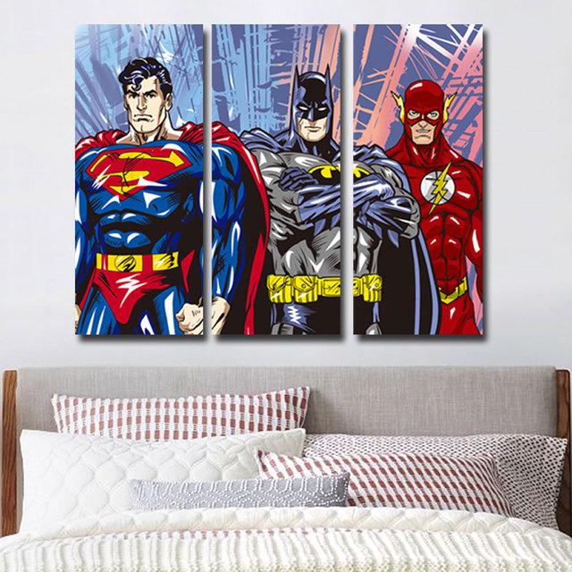 Superman Flash Batman 3 Piece No Frame Canvas Painting Art Posters Prints
