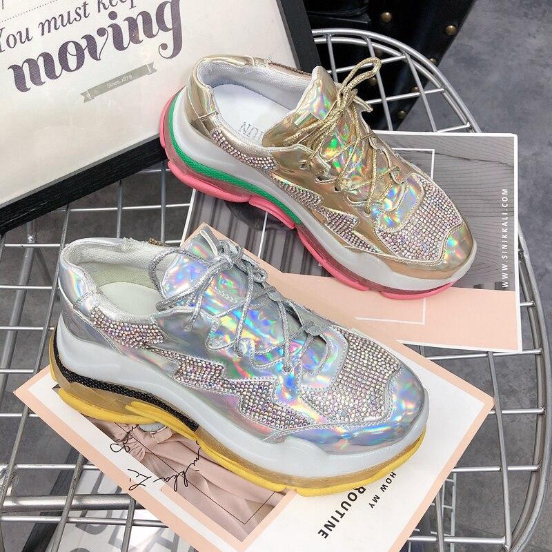 Gold Printemps De Mode Casual Strass Réfléchissant Chaussures Femmes Laser champagne Fond Gun Color Gelée Gâteau argent Vieux Couleur Épais UUqr8dnw1